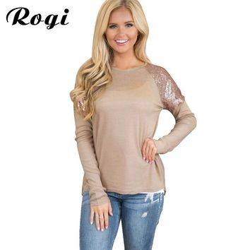 Rogi Tee Shirt Femme 2018 Spring Sequined Female T-Shirt Casual Long Sleeve T Shirt Women Patchwork Top Pullover Camiseta Mujer