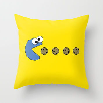 Cookie monster Pacman Throw Pillow by Dutyfreak