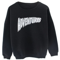 ROMWE | ROMWE Letters Print Black Sweatshirt, The Latest Street Fashion