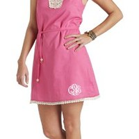 Chambray Crochet Neck Bathing Suit Cover Up   Marley Lilly