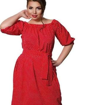 debbie Plus Size off the shoulder peasant Dress Polka Dot Female Casual Clothing Loose pink black blue red polkadots retro
