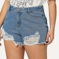 Plus Frayed Hem Ripped Denim Shorts