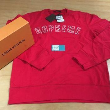 Supreme x Louis Vuitton Arc Logo Crewneck Sweater Sz 3L XXL Red White Box Logo