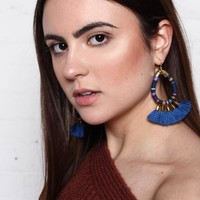 Wrapped Hoop Tassel Earrings - Blue