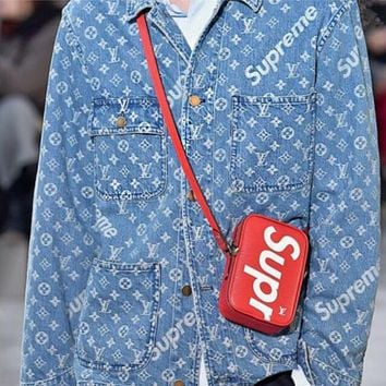 LV Louis Vuitton X Supreme Trending Women Men Distressed Denim Print Cardigan Jacket Coat I