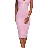Sexy Plunging Neck Zippered Bodycon Sleeveless Dress