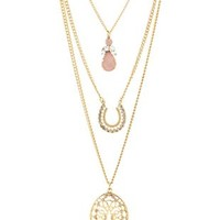 Filigree & Horseshoe Layering Necklaces - 3 Pack - Gold
