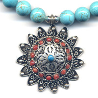 Nepal Necklace, Tibet Magnesite Necklace with Mandala Pendant, Turquoise and Coral Mandala,Handmade Nepal Jewelry by AnnaArt72
