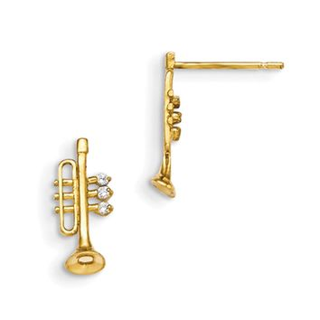14kt Yellow Gold CZ Stone Accent Musical Trumpet Girls Stud Earrings