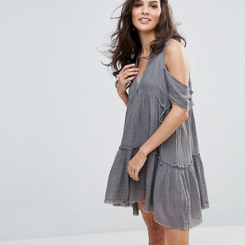 Free People Gauze Indus Cold Shoulder Dress at asos.com