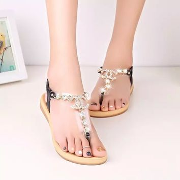Female sandals metal drill toe sandals