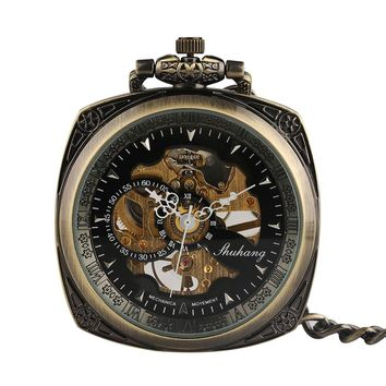 Vintage Bronze Steampunk Fob Mechanical Hand Wind Square Delicate Carved Pocket Watch for Men Women Retro Chain with Necklace