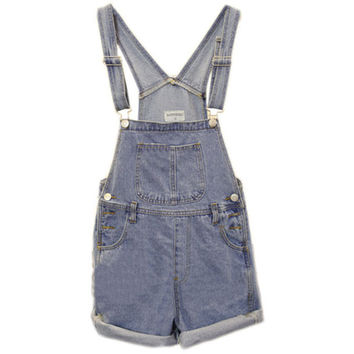 Riveted Straps Rolled Hem Denim Jumpsuit