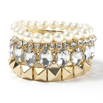 Dressy Pearl & Crystal Gold Stack Bracelets Set of 5 – Claire's