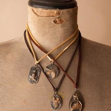 Leather Western Charm Pendant Necklace