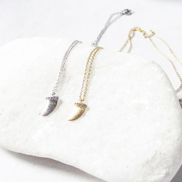 horn necklace,tusk necklace, delicate horn necklace, gold horn necklace, good luck gift,