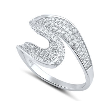 Sterling Silver Simulated Diamond Twist Statement Ring