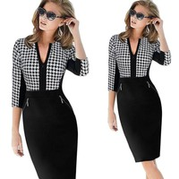 Half Sleeve Stretch Office Dress