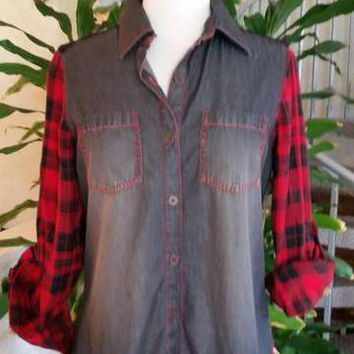 Bleu Bayou - A1705 - Black Denim/red Plaid Shirt W/lace Back Yoke