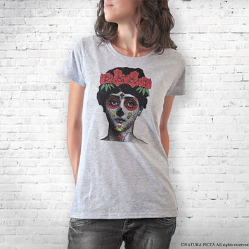 La Cavalera Catrina Day of Death T-shirt-Halloween T-shirt-women clothing-graphic tees-cool tees-men shirt-La Catrina-NATURA PICTA-NPTS095