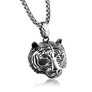 Lion Head Pendant Necklace For Men Punk Hip Hop Jewelry Stainless Steel Gold/Silver/Black Color Accessories Friendship