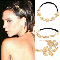 Gold Alloy Olive Leaves Head Band