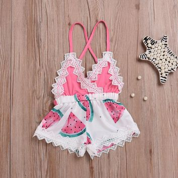 Newborn Toddler Baby Girls Lace Romper Bodysuit Jumpsuit Outfits Sunsuit Clothes