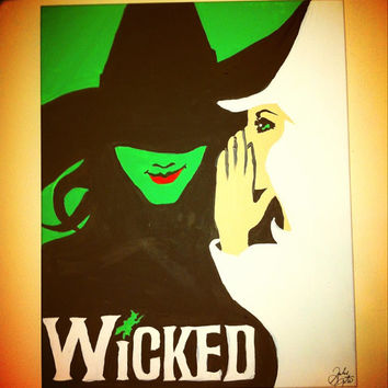 Wicked the Broadway Musical Original Painting Canvas 16x20 Elphaba and Galinda