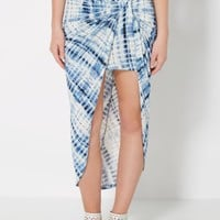 Blue Tie Dye Knotted Skirt | Midi | rue21