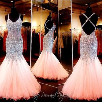 Luxury Coral Mermaid Crystal Prom Dresses 2017 Beaded Sequin Long Tulle Floor Length Evening Gowns