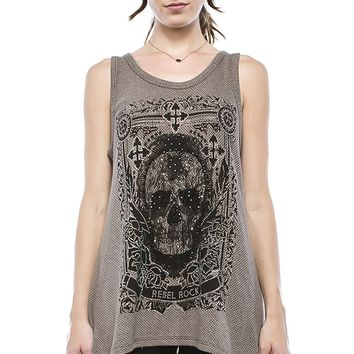 Crystal Rebel Skull Tank Top