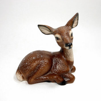 Vintage Deer Fawn Figurine Ceramic Brown Forest Animal Statue Woodland Retro Home Decor Japan PeachyChicBoutique on Etsy