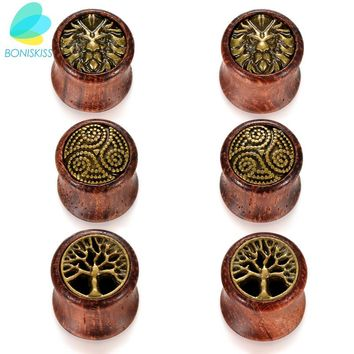 Boniskiss 12mm Lion Double Ear Tunnels Plugs Buddha Gauge Expanders Ear Stretcher Men Women Piercing Earring Body Jewelry