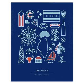 Navy Red & Blue Chicago Print