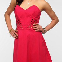 Urban Outfitters - Sparkle & Fade Lattice Waist Strapless Dress