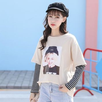 Kawaii Women T-shirt Ulzzang Long Sleeve Striped Cartoon T Shirt Japan Harajuku Tops Tee Preppy Tshirt HT1201