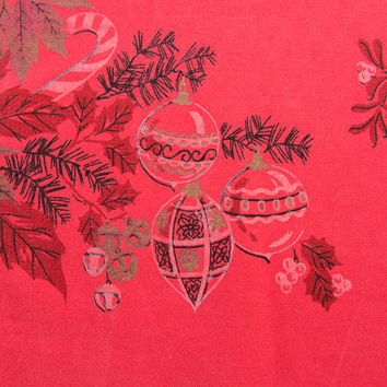 Vintage Christmas Tablecloth Shiny Brite Ornaments Mid Century Kitchen