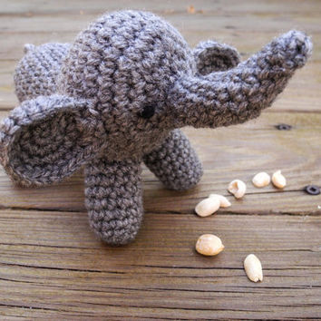 Stuffed Animal - Crochet Elephant - Baby Toy - Amigurumi Elephant Plush