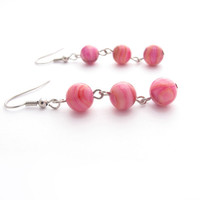 Pink Orange Swirl Dangle Earrings