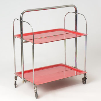 70s Red and Silver Folding Drinks Trolley / Metal Portable Bar Cart / Colorful Industrial Living Room Home Decor Bar Cart