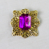 Large Purple Princess Cut Stone On Gold Tone Filigree Metal Trim Vintage Collectible Gift Item 2369