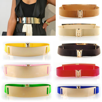 Celebrity Women Metal Elastic Mirror Wide Waistband Belt