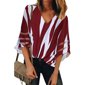 Red 3/4 Bell Sleeve V Neck Lace Patchwork Blouse