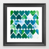 Mod Green & Blue Grungy Hearts Design Framed Art Print by Samantha Lynn