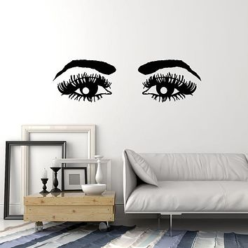 Vinyl Wall Decal Female Eyes Eyelashes Brows Expressive Look Women Stickers Mural (g1597)