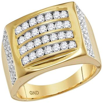 14kt Yellow Gold Men's Round Diamond Arched Square Cluster Ring 1-1/3 Cttw - FREE Shipping (US/CAN)
