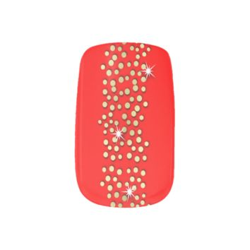 Red and Gold Sparkly Glitzy Party Nails Minx® Nail Wraps