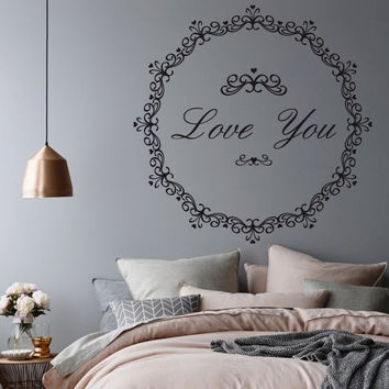 Wall Decor Vinyl Sticker Room Decal Love Passion Kiss Heart Bedroom Ornament Tracery Garland Lace Family (s183)