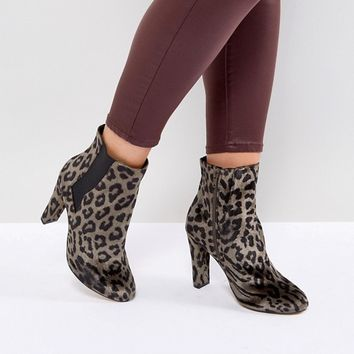 River Island Wide Fit Leopard Print Heeled Ankle Boots at asos.com