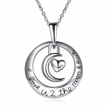 AUGUAU Luvalti I Love You to the Moon and Back Crescent Moon Pendant Necklace - Family & Friends Jewelry Gift